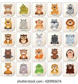 Colorful Tags, Labels or Stickers with Cute Zoo Animals, Birds and Reptiles. Clip Art