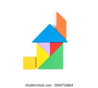 Colorful Tangram Puzzle House on White Background