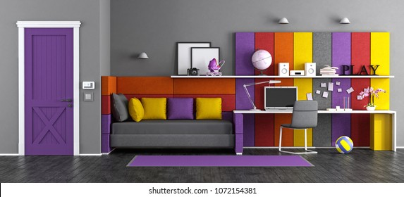 Colorful teen bedroom with fabric bed,desk and closed door - 3d rendering