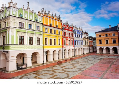 Colorful Tenement houses on Market Square in Zamosc, Poland - the city listed by UNESCO.
