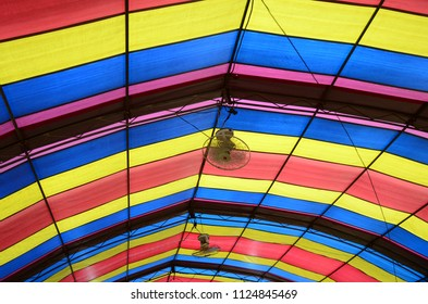 Colorful tent with fans for outdoors activity use