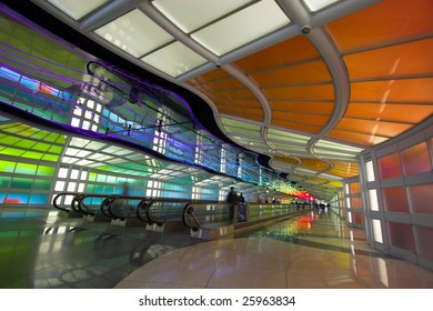 Colorful terminal and escalator in Chicago Airport