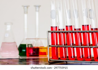 colorful test tubes in laboratory