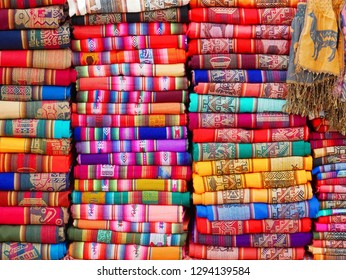 Colorful textiles in the market of Purmamarca, Argentina. Alpaca wool.