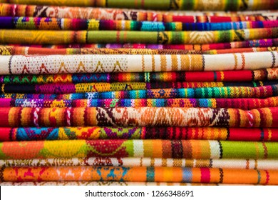 Colorful textiles of Otavalo market