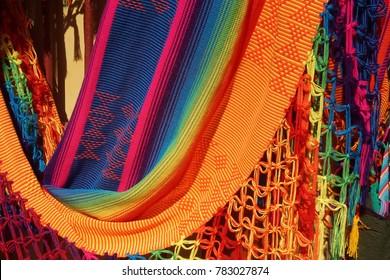 Colorful textiles for sale in shop in  Las Bovedas, Cartagena, Colombia