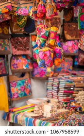 Colorful textured local souvenirs for sale in a San Cristobal market, Mexico