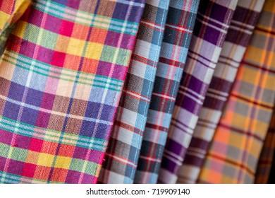 Colorful of Thai fabric call pa kao ma.