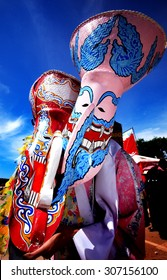 Colorful Thai festival - Phi Ta Khon, a type of masked procession celebrated