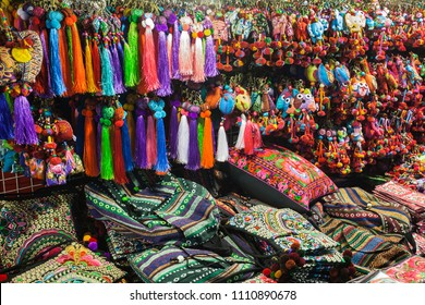 Colorful thai style fabric in the market, Thailand