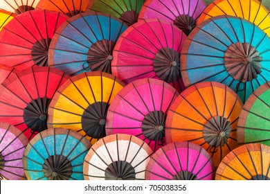 Colorful Thai traditional handmade umbrellas background