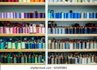 Colorful thread spools in fabric industry