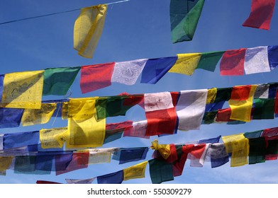 Colorful Tibetan prayer flags at boudhanath stupa in Kathmandu, Nepal