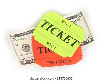 Colorful tickets with money isolated on white