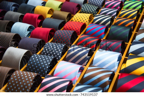 7752baaacbfd Colorful Tie Collection Mens Shop Stock Photo (Edit Now) 743519137