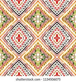 Colorful tie dye indigo shibori print. Seamless hand drawn boho batik pattern. Ink textured japanese background. Modern batik wallpaper tile. Watercolor pattern for fabric, clothes. Ethnic design.