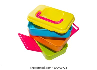 Colorful Tiffin on White Background.