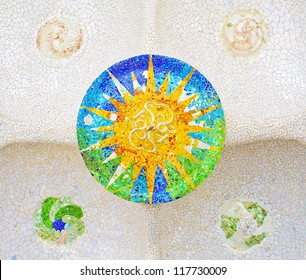 Colorful tile mosaic on the ceiling of the Hypostyle hall in Parc Guell designed by Antoni Gaudi, Barcelona.