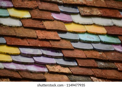 colorful tiles on a roof