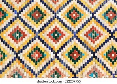 Colorful tiles on the wall. Uzbekistan