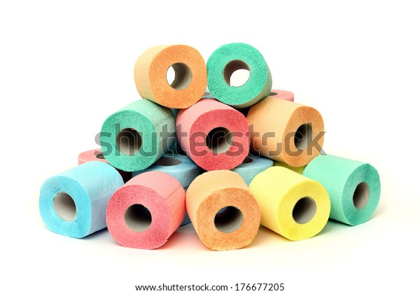 A lot of colorful toilet paper rolls on a white background