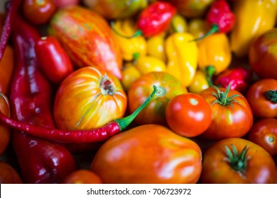 colorful tomato and pepper background
