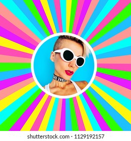 Colorful Tomboy Girl in stylish accessories. Glasses and Choker. Party Style Trend