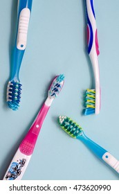 colorful toothbrushes isolated on  background