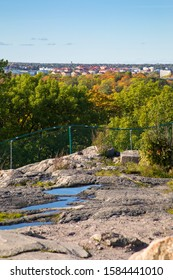 A colorful top view to Stockholm in autumn. Sweden