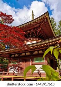 The colorful Toto Pagoda or Eastern Pagoda in the Unesco listed Danjon Garan Shingon buddhism temple complex in Koyasan, Wakayama, Japan
