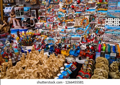 Colorful tourist souvenirs on a market in Verona.