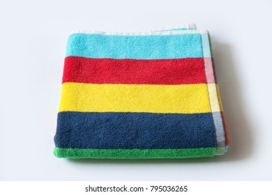Colorful towel on white background
