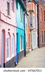 Colorful town houses in Bungay, Suffolk