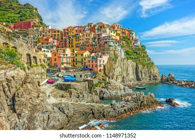 Colorful town on the rocks, Cinque Terre, Liguria, Italy, Europe
