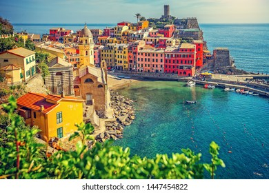 Colorful town on the rocks, Vernazza, Liguria, Italy