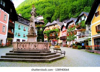 Colorful town square in the village of Hallstatt, Austria