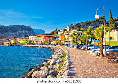 Colorful town of Torbole on Lago di Garda waterfront view, Trentino Alto Adige region of Italy