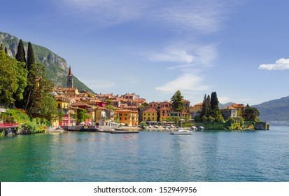 Colorful town Varenna seen from Lake Como on a sunny day