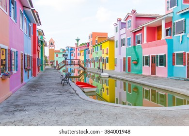 colorful townhouse and the pond