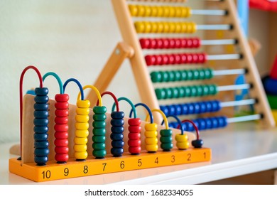 colorful toy abacus to children and learning of mathematics. educational toys.