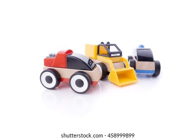 Colorful Toy Car isolated on white.