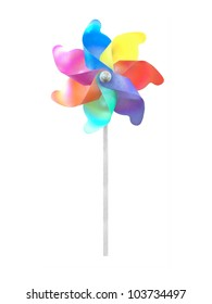 A colorful toy whirlygig isolated on white