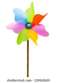 colorful toy windmill isolated on a white background
