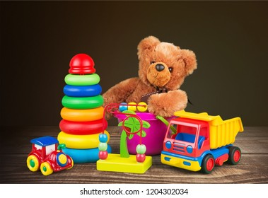 Colorful toys collection on  background