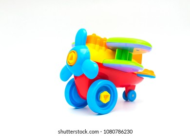 Colorful toys model plane,airplane on white background.