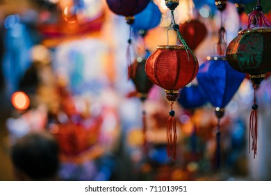 Colorful tradition lantern at china town lantern market in saigon, Vietnam. Beautiful Chinese  lanterns and  Many kind of tradition lanterns are hanging on street market in mid autumn festival.