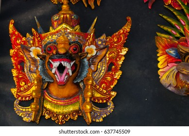 Colorful traditional Balinese masks which are on the market. Souvenirs. Bali Indonesia
