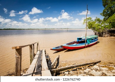 Colorful traditional boats on the Suriname river, Suriname