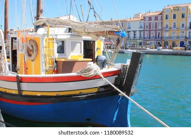 Colorful traditional boats in Sete, a seaside resort and singular island in the Mediterranean sea, it is named the Venice of Languedoc Rousillon, France