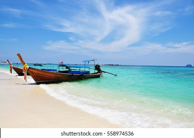 Colorful  traditional Fishing boat  on the sea beach at Phuket Thailand